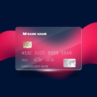 Cartão de crédito com efeito de vidro isométrico