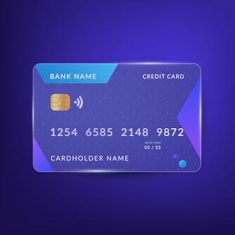 Cartão de crédito com efeito de vidro realista