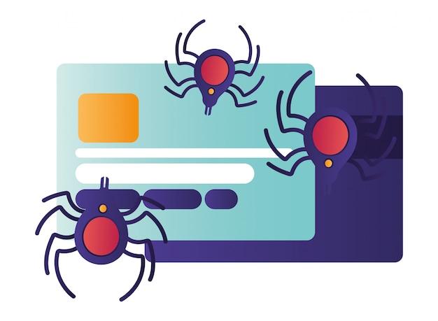 Cartão de crédito com ícones isolados de aranha