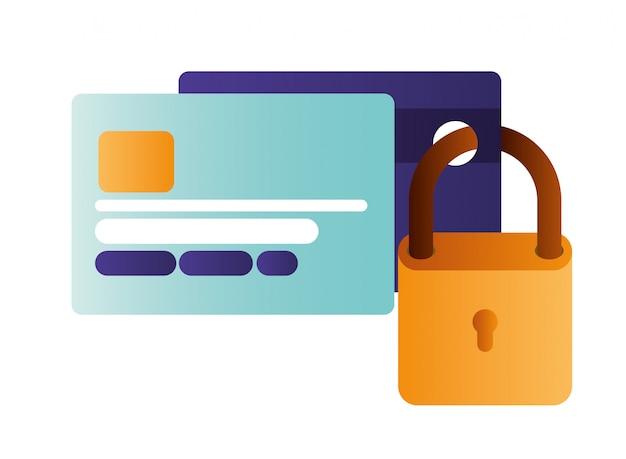 Cartão de crédito com ícones isolados de cadeado