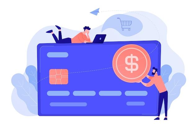 Cartão de crédito com moedas de dólar e usuários. comércio eletrônico e compras online, operações financeiras e cartão plástico, pagamento móvel e conceito bancário. ilustração isolada em vetor.