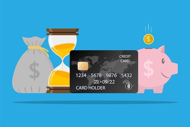 Cartão de crédito conta poupança economizando fundos ampulheta saco de dinheiro porquinho