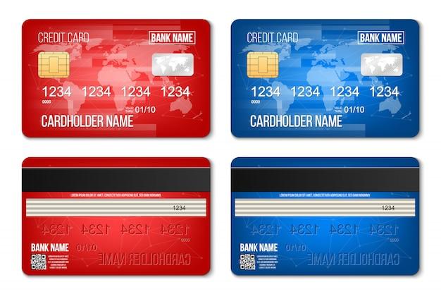 Cartão de crédito de banco plástico dois lados definido.