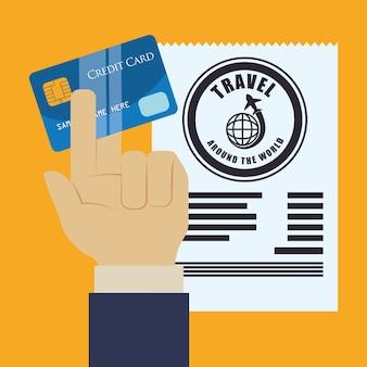 Cartão de crédito de mão de viagem ao redor do mundo