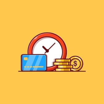 Cartão de crédito de moeda e design de ilustração vetorial de relógio