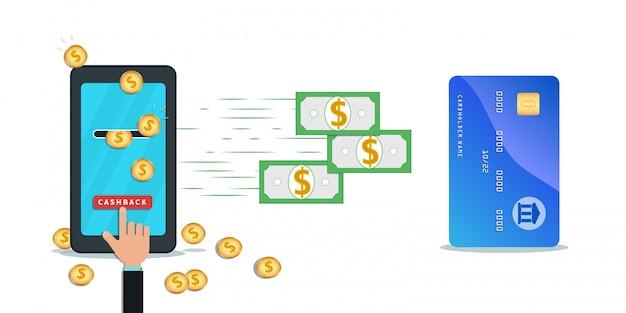 Cartão de crédito de reembolso e aplicativo móvel para transferência de dinheiro. smartphone plana com moedas de ouro na tela.