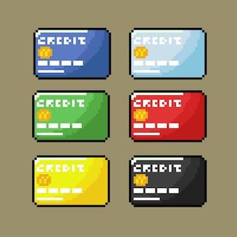 Cartão de crédito definido em vista frontal com estilo pixel art