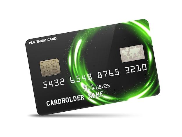 Cartão de crédito detalhado em platina brilhante com decoração em anel de luz de néon Vetor Premium