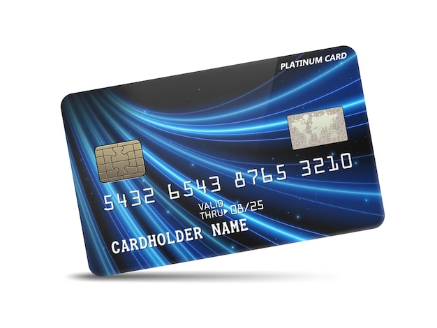 Cartão de crédito detalhado em platina brilhante com decoração em luz neon ondulada