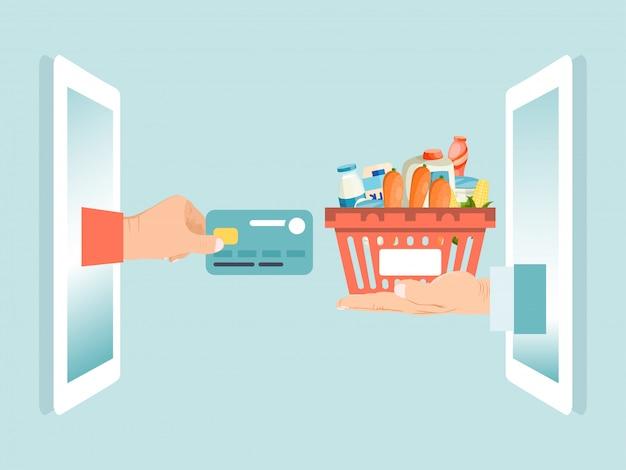 Cartão de crédito do débito da posse da mão masculina, ordem em linha dos gêneros alimentícios do dispositivo do smartphone isolada no azul, ilustração.