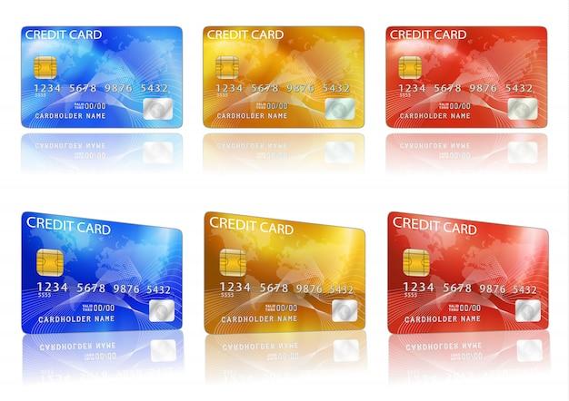 Cartão de crédito do vetor. azul, vermelho, amarelo