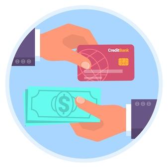 Cartão de crédito e modelo de ícone de design plano de pagamento em dinheiro para compras online cashback mãos humanas segurando um cartão de plástico e banner de notas simulado para carregamento e retirada de dinheiro do banco atm