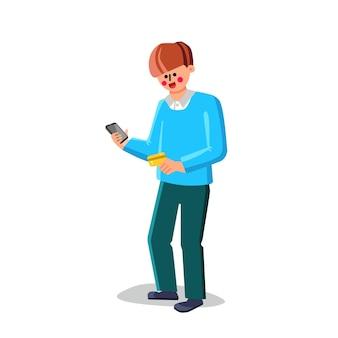 Cartão de crédito e smartphone segurando vetor homem. o cartão de crédito do banco e o telefone móvel prendem o menino. personagem comprando on-line, comércio eletrônico, ilustração plana de contabilidade