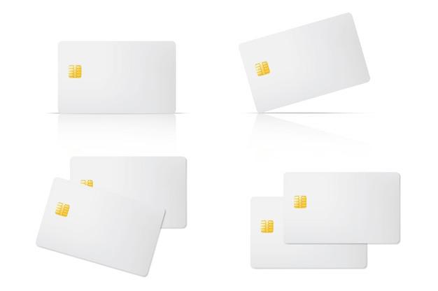 Cartão de crédito em branco 3d com chip em fundo transparente. banco de comércio eletrônico para compras modelo de design de conceito.
