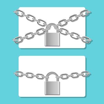 Cartão de crédito em cadeia trancado com ilustração de cadeado no fundo