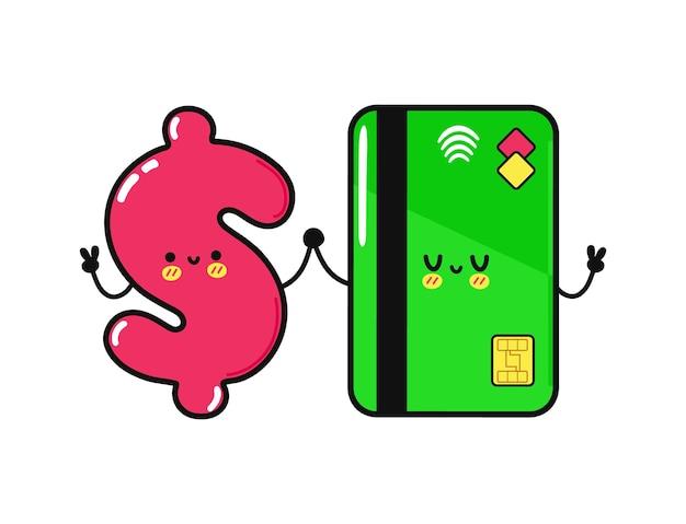 Cartão de crédito feliz engraçado fofo e personagem de dólar