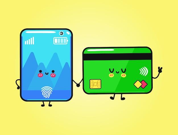 Cartão de crédito feliz engraçado fofo e personagem de smartphone