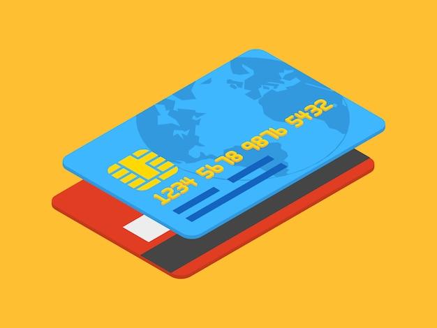 Cartão de crédito isométrico contra o fundo laranja