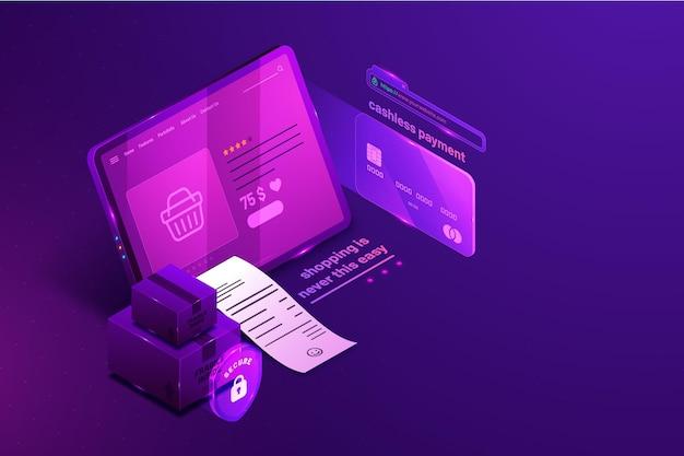 Cartão de crédito isométrico de comércio eletrônico