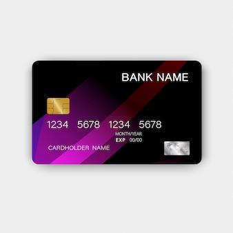 Cartão de crédito luxuoso plástico roxo brilhante