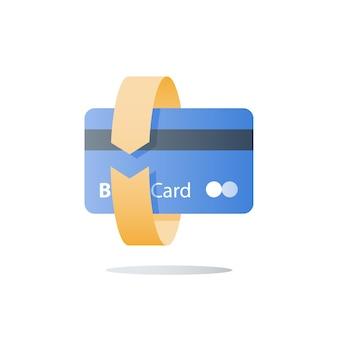 Cartão de crédito, método de pagamento, ilustração de serviços bancários
