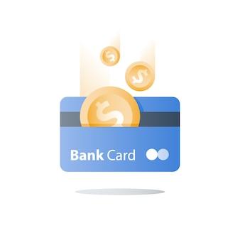 Cartão de crédito, método de pagamento, serviços bancários, empréstimo fácil, programa de devolução de dinheiro, economia de dinheiro, solução financeira, cartão do banco, moeda de um dólar