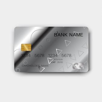 Cartão de crédito prateado.