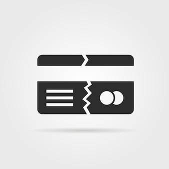 Cartão de crédito quebrado preto com sombra. conceito de fratura, fissura, fraude, falsificação, imposto, execução duma hipoteca, cancelamento, quebra. ilustração em vetor design de logotipo moderno tendência estilo plano em fundo cinza