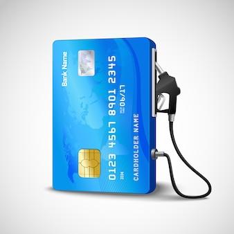 Cartão de crédito realista com conceito de posto de gasolina de mangueira de combustível