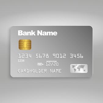 Cartão de crédito realista. modelo de cartão de plástico em cinza