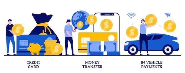 Cartão de crédito, transferência de dinheiro, no conceito de pagamentos de veículos com pessoas minúsculas