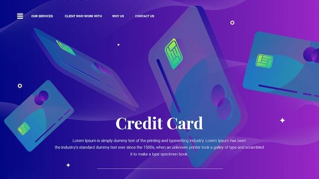 Cartão de crédito voador na página de destino ou modelo da web