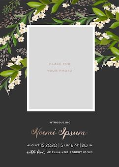 Cartão de criança recém-nascido com elementos florais. bebê chuveiro modelo photo frame com flores. convite de casamento salvar o cartão de data com coroa de flores, folhas. ilustração vetorial