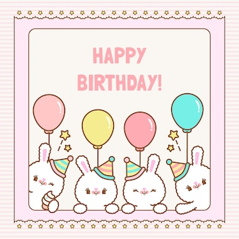 Cartão de crianças coelhinhos feliz aniversário.
