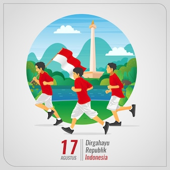 Cartão de cumprimentos da independência da indonésia com crianças correndo carregando a bandeira nacional