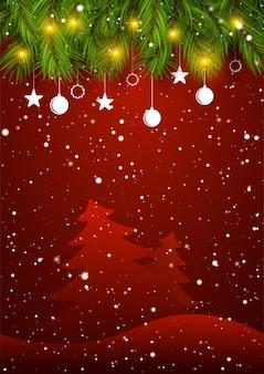 Cartão de cumprimentos de ano novo de temporada de férias com galhos de árvores de natal decoradas e neve.