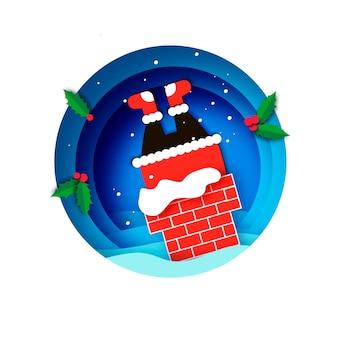 Cartão de cumprimentos de feliz natal com papai noel preso na chaminé. feliz ano novo em estilo papercraft. azul. férias de inverno.