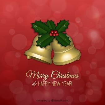 Cartão de cumprimentos de natal com sinos dourados