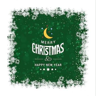 Cartão de cumprimentos de natal verde grunge