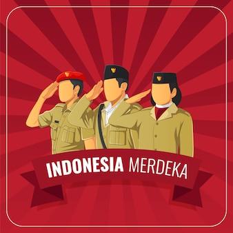 Cartão de cumprimentos do dia da independência da república indonésia