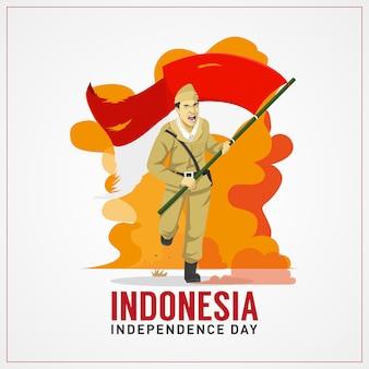 Cartão de cumprimentos do dia da independência de indonésia com herói carregando bandeira