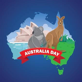 Cartão de cumprimentos do dia de austrália