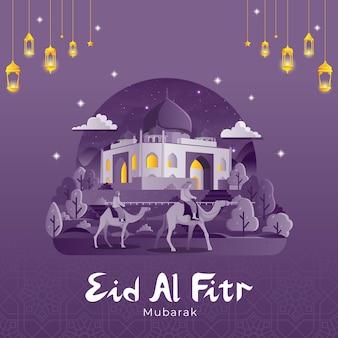 Cartão de cumprimentos do eid al fitr com pessoas andando de camelo até a mesquita