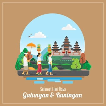 Cartão de cumprimentos do feriado de balingan e kuningan