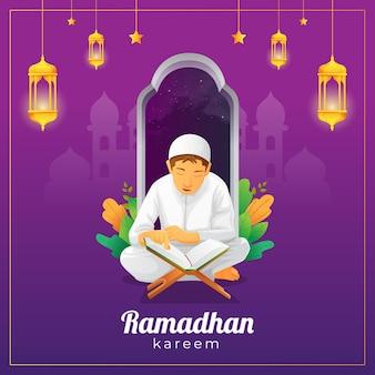 Cartão de cumprimentos do ramadã com criança lendo o alcorão