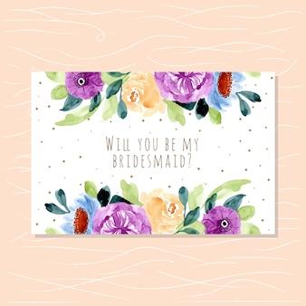 Cartão de dama de honra com aquarela floral