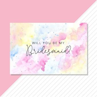Cartão de dama de honra com aquarela pastel
