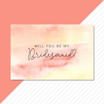 Cartão de dama de honra com fundo aquarela abstrata de verão