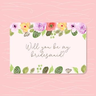 Cartão de dama de honra com moldura floral aquarela