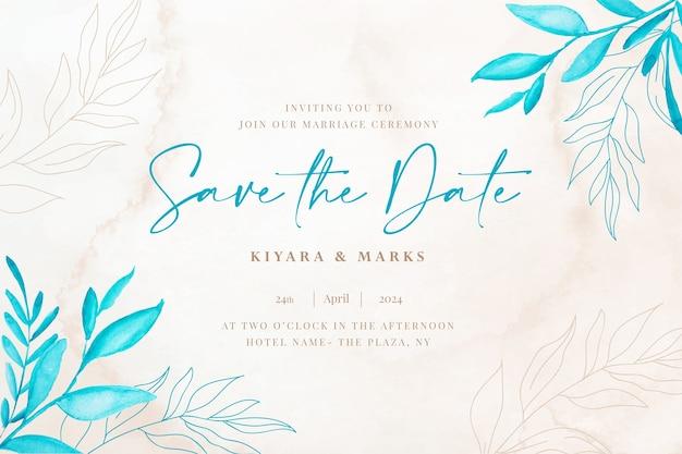Cartão de data botânico para casamento em aquarela